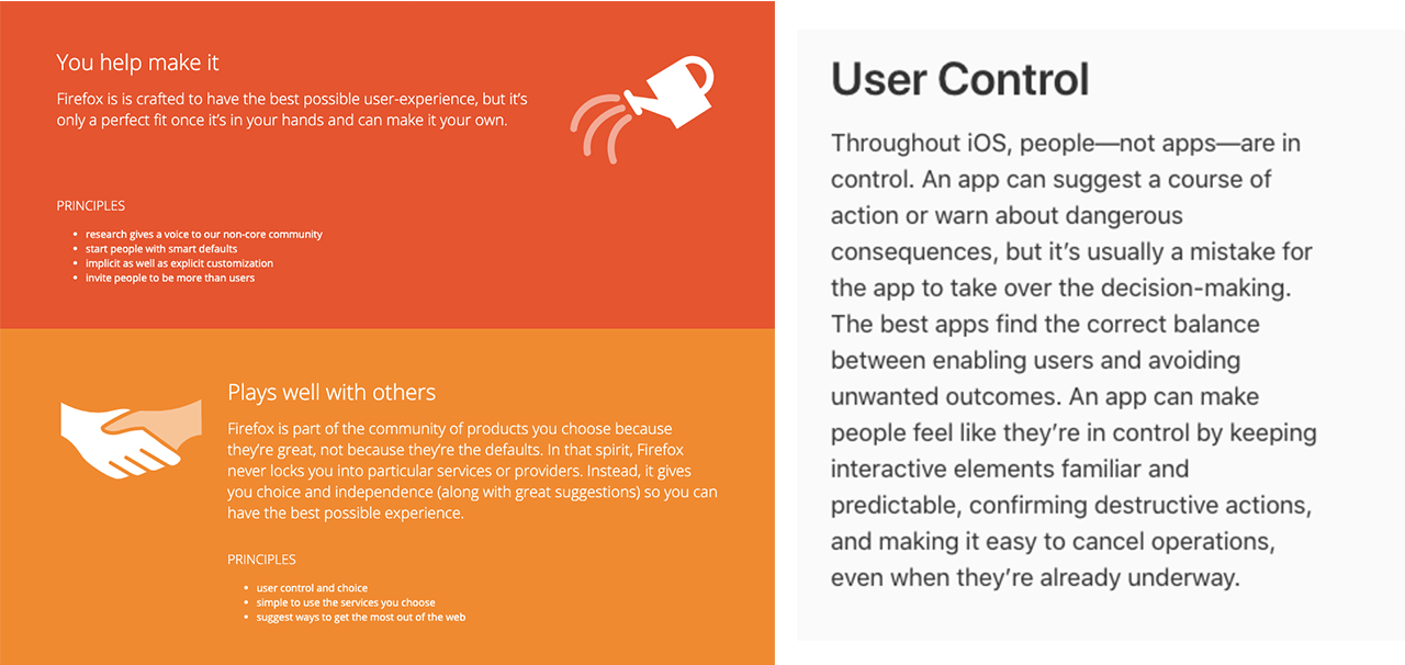Screenshots of Firefox and Apple's design principles centered around user control.