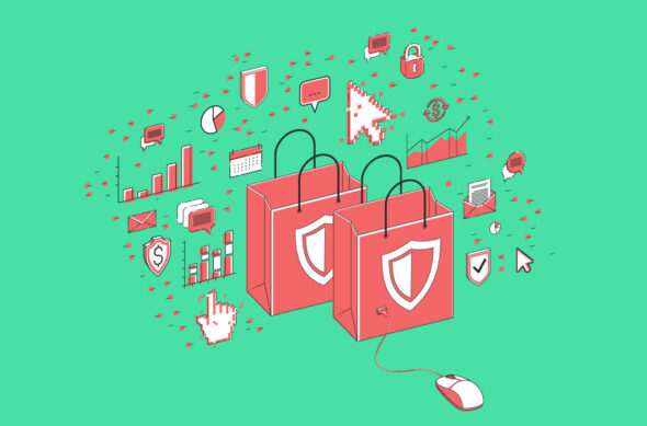 Illustration of shopping bags marked with security shields