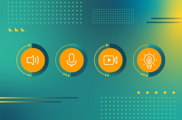 An abstract illustration with video playback icons and a lightbulb.