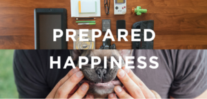 """""""Prepared Happiness"""" - A photo design from Metajive's website featuring a table of tech gadgets and a dog being held by its owner."""
