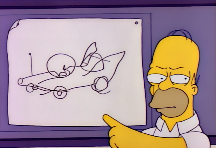Homer sternly points at a crude sketch of a car