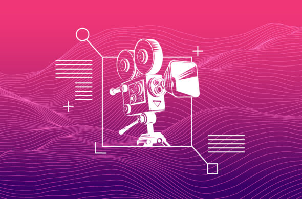 An illustration of a movie camera over a high-tech background
