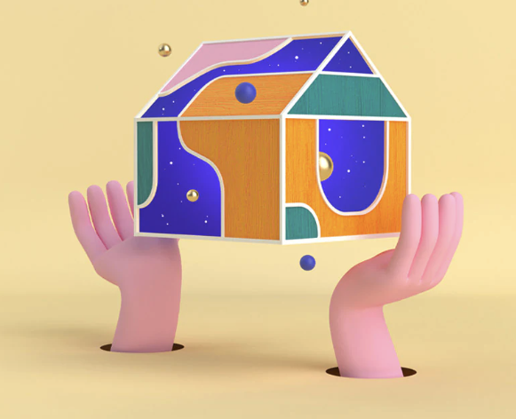 3D rendered hands hold a floating house with abstract patterns