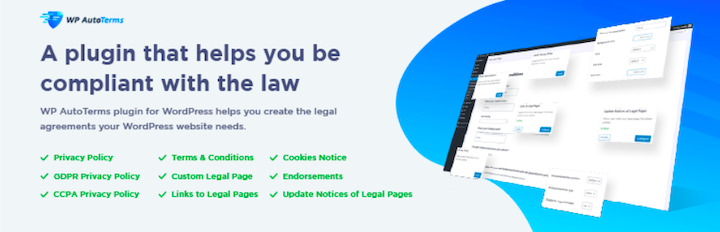 "WP AutoTerms logo and a stylized screenshot, with the brand's main benefits: ""A plugin that helps you be compliant with the law"""