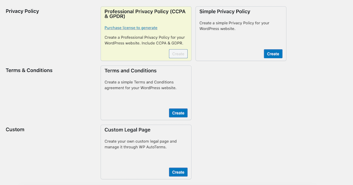 A screenshot of WP AutoTerms' plugin, including options for creating CCPA & GDPR policies and other legal pages and privacy policies