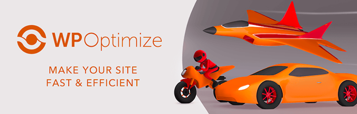 WP-Optimize's logo next to illustration of a jet, motorcycle, and sportscar