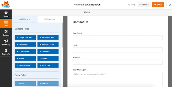 A screenshot of the Contact Form builder, with options for a wide variety of fields being placed in a Contact Us form.
