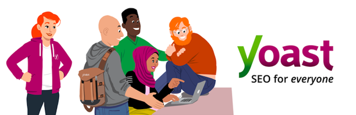 An illustration from Yoast's site of a group of people next to their logo