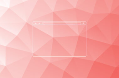 Illustration of the outline of a web browser over a soft-hued geometric pattern