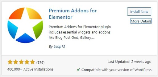 Screenshot of the Premium Addons for Elementor plugin in WordPress' Add Plugins search