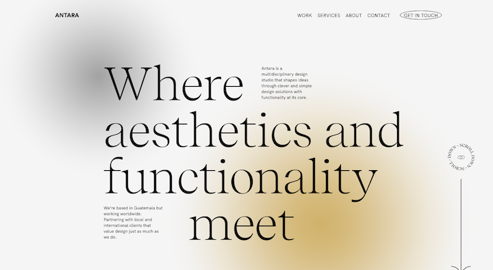 Screenshot from the Antara Studio site with a large, elegant serif font sitting over a blurred abstract background