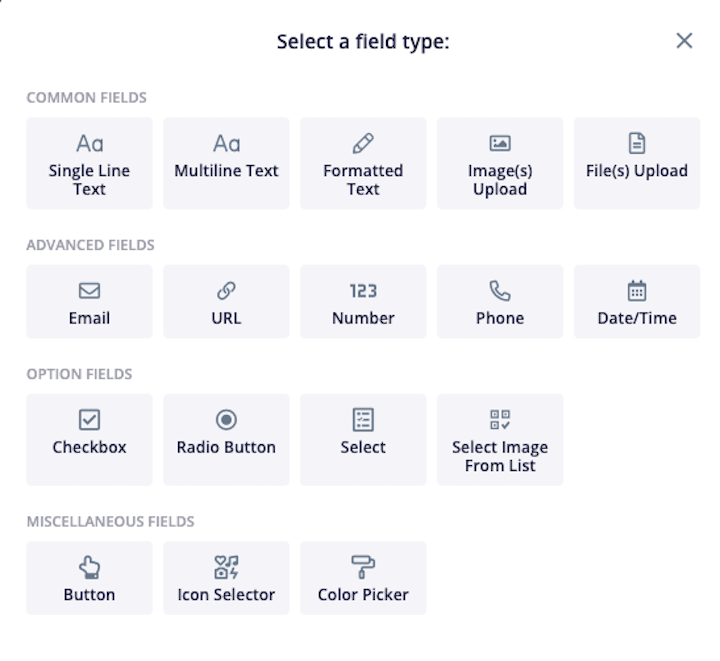 Screenshot of the field types available in Content Snare, including formatted text, upload, email, radio button, phone and many more