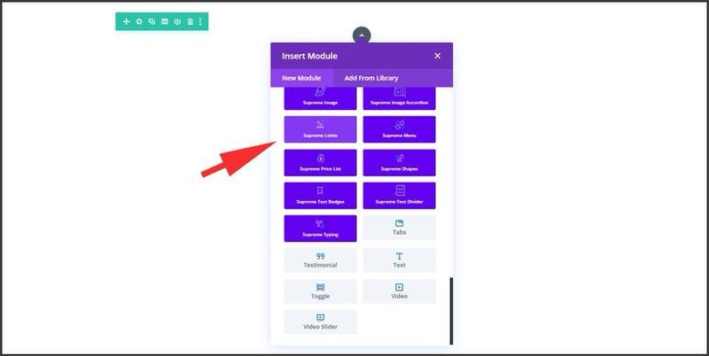 Screenshot of the option to add a Lottie using the Insert Module in Divi's Supreme Modules Lite plugin