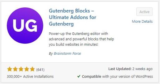 Screenshot of the Gutenberg Blocks plugin in WordPress's Add Plugins menu