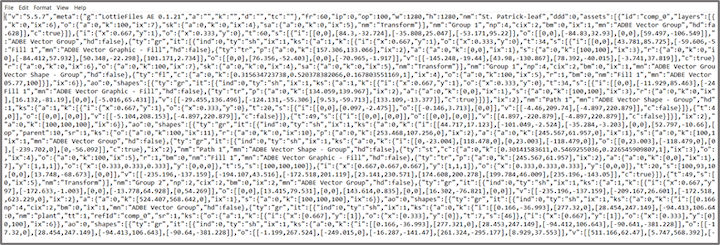 The code that makes up a lottie file