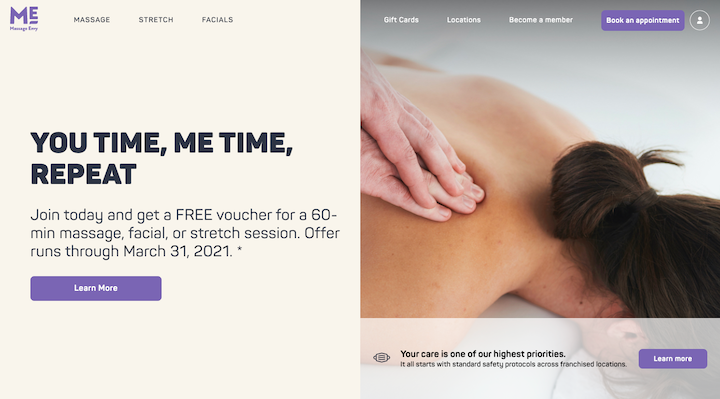 A screenshot from the Massage Envy site, with a soft background and simple photo of a back being massaged is accompanied by call-to-action buttons with a light purple fill
