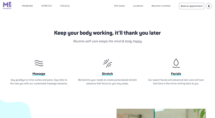 Screenshot of text on the Massage Envy site without a CTA button: a light blue underline sits behind the black text of headings.