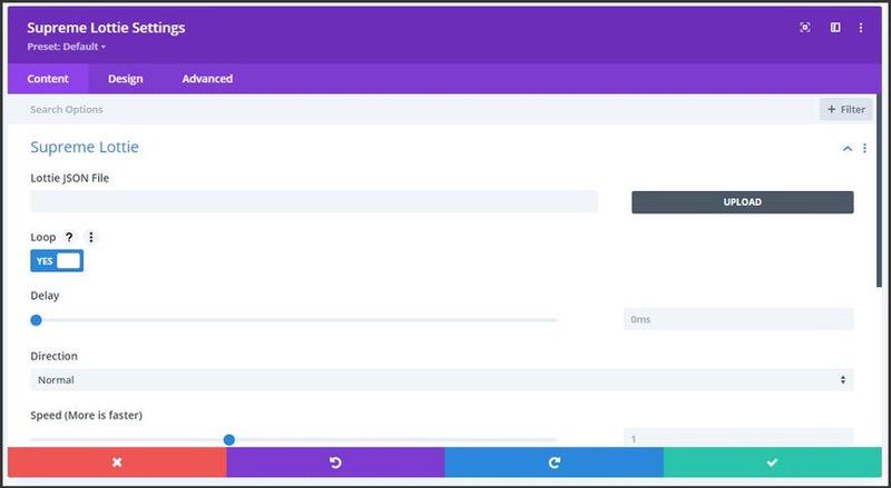 Screenshot of the settings menu to adjust Lotties in Divi's Supreme Modules plugin