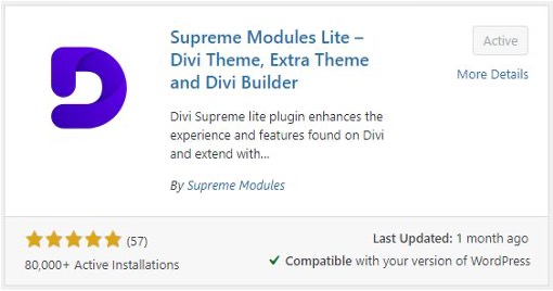 Screenshot of the Supreme Modules Lite plugin in WordPress's Add Plugins search