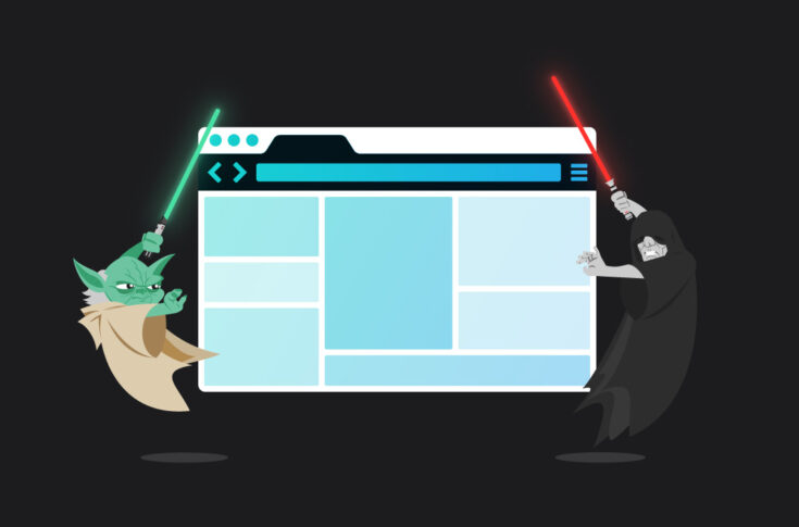 Illustration of Yoda and Emperors Palpatine from Star Wars, holding lightsabers on either side of a web browser screen