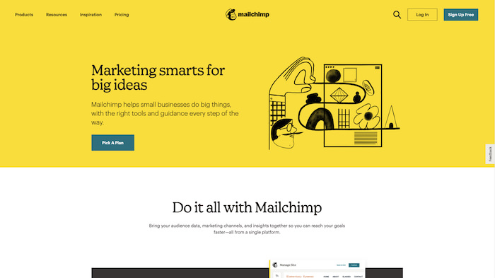 Screenshot of Mailchimp's website, with second-person headlines and an emphasis on the user journey