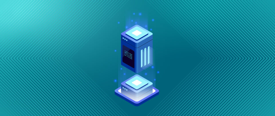 Illustration of a small server box being stacked with a larger server.