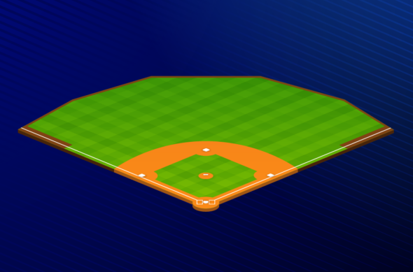 Isometric illustration of a baseball field on a blue background.