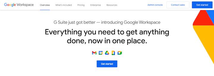 Screenshot of Google's shift from G Suite branding to Google Workspace branding